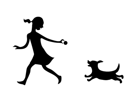 Girl playing ball with a dog. Vector black silhouette image.