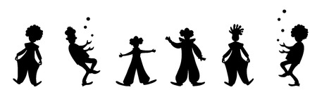 Cute clowns collection. Black and white vector silhouette image. Vektorové ilustrace
