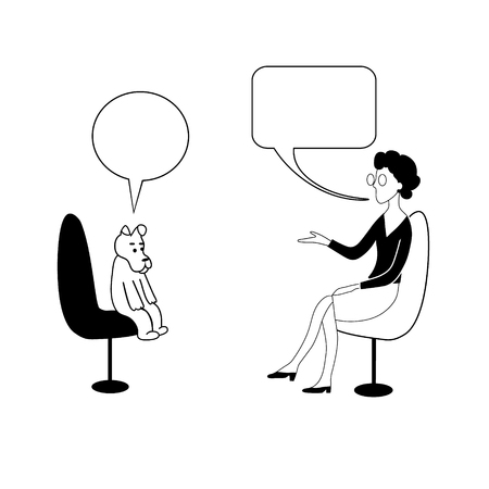 Talk shows, interview or discussion. Woman in glasses asks to dog in bubbles. They sit in chairs facing each other and talking. Vector contour drawing image.