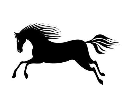 Galopujący koń z grzywą i ogonem. Rysunek ręka czarna sylwetka wektorowa.
