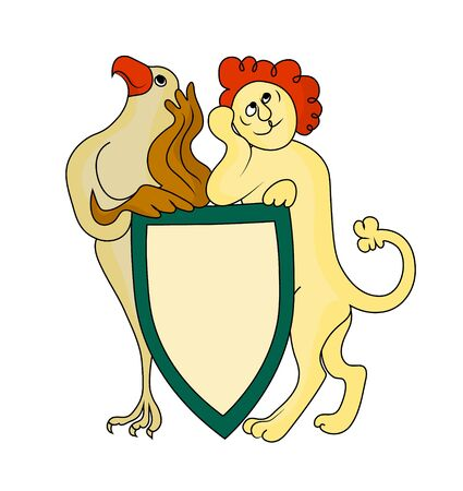 Not serious lion and eagle hold the coat of arms. Vector color image.
