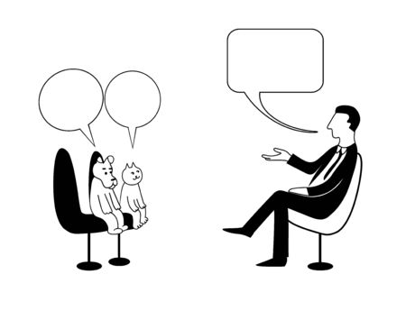 Talk shows, interview or discussion. Man in asks to dog and cat in bubbles. They sit in chairs facing each other and talking. Vector contour drawing image.