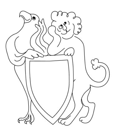 Not serious lion and eagle hold the coat of arms. Vector black and white image.  イラスト・ベクター素材