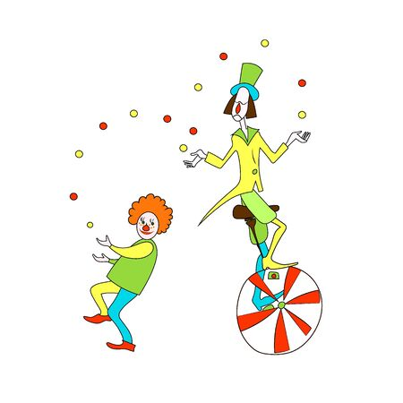 Two cute smiling red and white clowns juggling. Color cartoon vector  image.