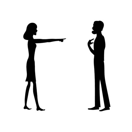 Angry woman and confused man. Vector black illustration.