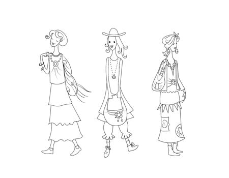 Three cute girls in fashionable boho style clothes. Vector hand drawn contour image.