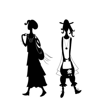 Two cute girls in fashionable boho style clothes. Vector hand drawn contour image silhouette.