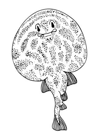 Electric ray. Sea fish. Black and white hand drawn vector illustration. Foto de archivo - 136814226