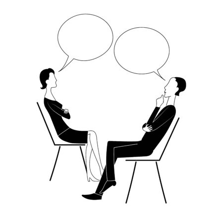 Man and woman sit on chairs and think with bubbles. Black and white vector illustration.