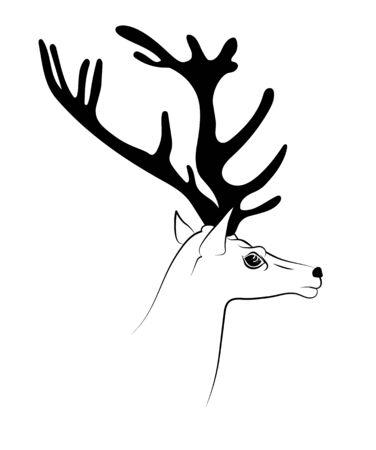 Deer head with antlers in profile. Hand drawing black outline image. Ilustração