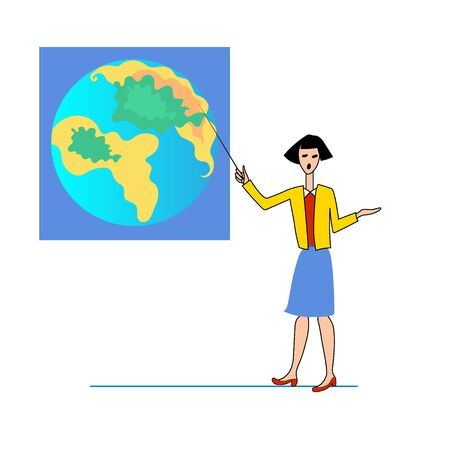 Girl points to map of globe on Board. Vector color cartoon image. 向量圖像