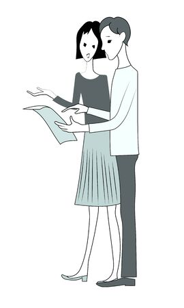 Young man and woman discuss document. Vector isolated hand drawn image.