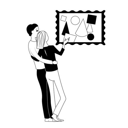 Man embraces a woman, they stand in front of an abstract painting. the girl points her finger to the right and up. They sit in chairs facing each other. Hand drawn black and white outline image.