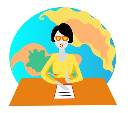 Woman talks about Globe map. Vector color illustration.