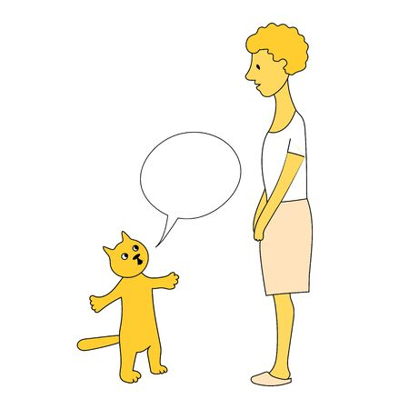 Cat throws up his hands and justifies himself to hostess. Woman stands in front of him and looks at him doubtfully. Vector yellow hand drawn image. Illustration