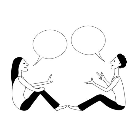 Girl and boy are talking using sign language. Vector drawing image.