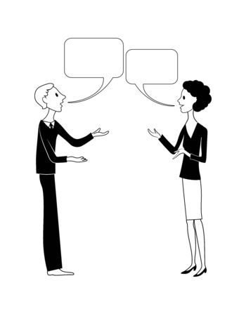 Man and woman are talking. Vector drawing illustration.