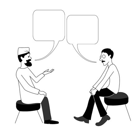 Doctor and man are talking. Vector black outline image. Stok Fotoğraf