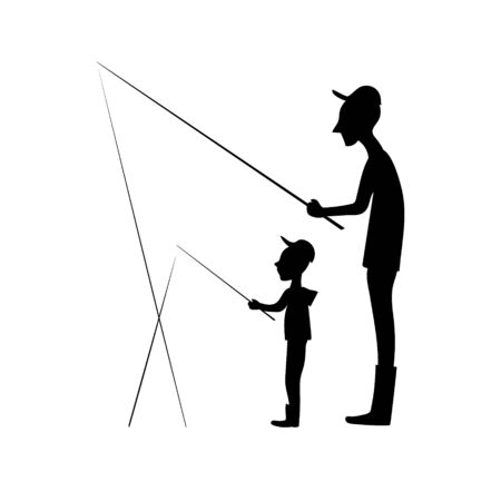 Grandfather and litlle boy with fishing rod. Vector black silhouette image.