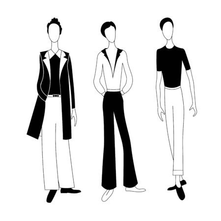 Three fashionable men. Vector silhouette illustration Stok Fotoğraf