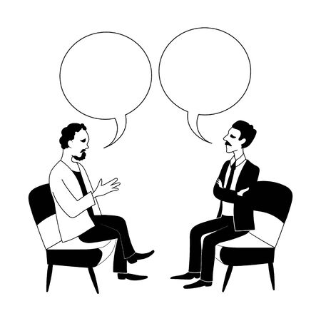 Talk shows, interview or discussion. Two men talking with speech bubble . They sit facing each other. Hand drawn black and white outline image. Archivio Fotografico