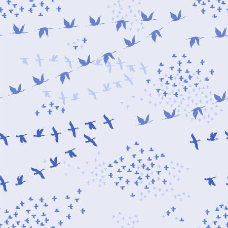 Flock of crane, ducks and sparrow birds. Vector silhouette image.