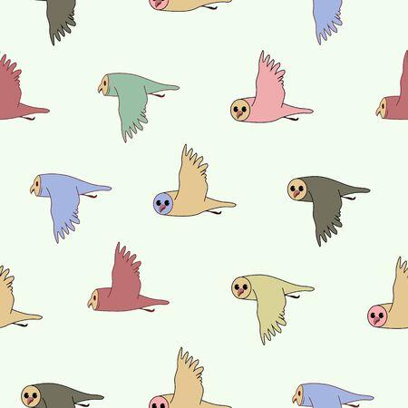Flock of owl birds. Vector color image.