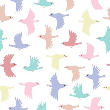Little birds seamless pattern. Color vector background.
