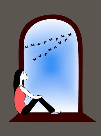 Girl sit inside room and looks out window at crane flock. Vector drawing illustration. Stok Fotoğraf
