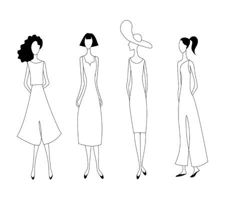 Fashion women. Drawing outline model set.