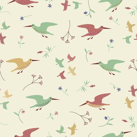 Flower, Sandpiper and Little birds seamless pattern. Color vector background.