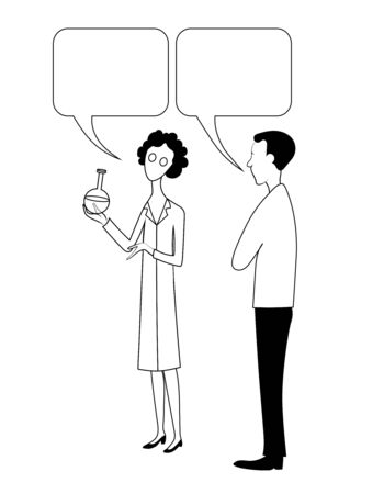 Woman and man. Female scientist shows flask and tells about it with bubble. Vector hand drawn black and white image.