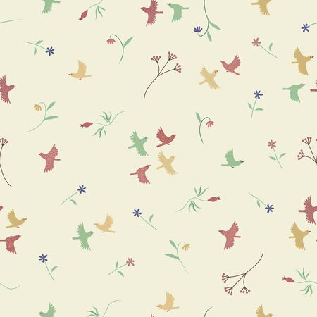 Flower and birds color seamless pattern. Vector background. Vectores