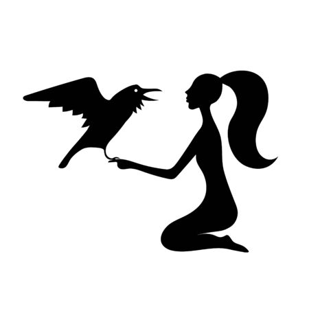 Woman with crow guesses . Vector outline drawing image silhouette.