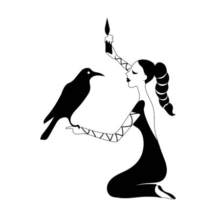 Woman with crow and candle guesses . Vector outline drawing image.