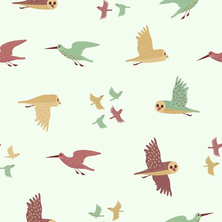 Owl, Sandpiper and Little birds seamless pattern. Color vector background.
