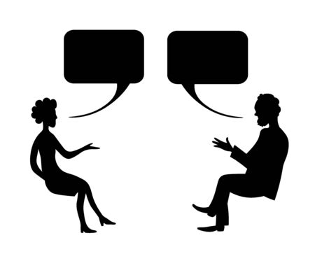 Man and woman are talking. Vector drawing image. Vectores