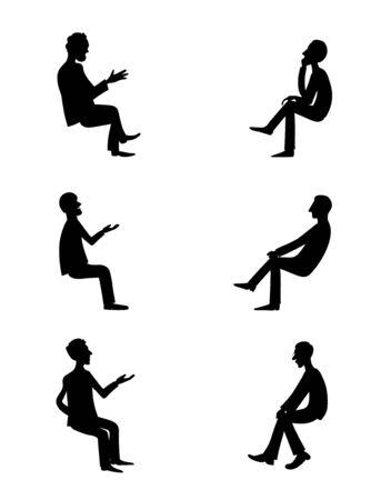 Men are talking. Vector black image set. Çizim