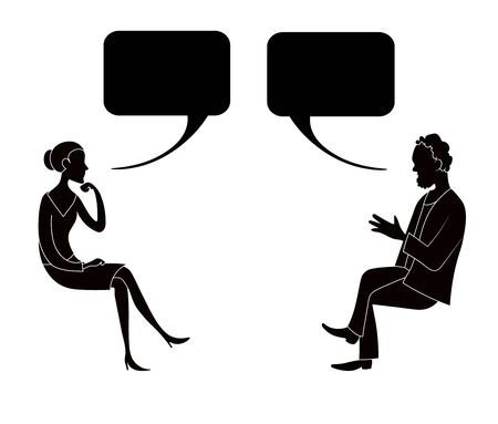 Woman and man sit and talk with bubble. Vector hand drawn black silhouette with white contour image.
