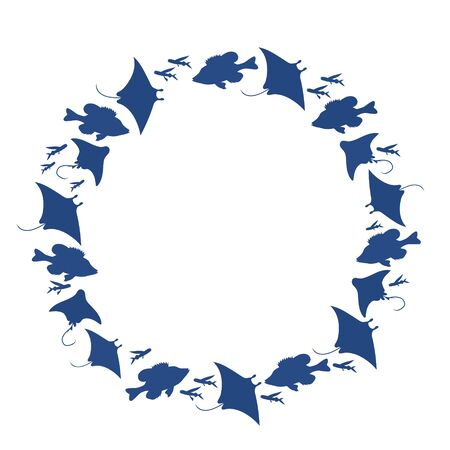 Blue round frame with fishes . Vector image.  Vectores
