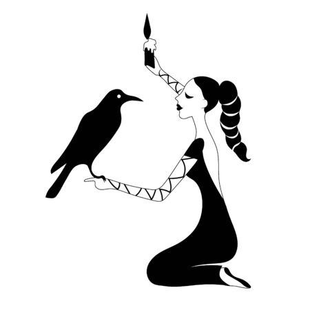 Woman with crow and candle . Vector outline drawing image silhouette.