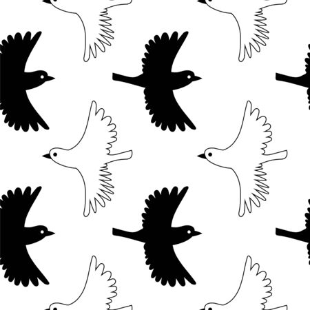Little birds seamless pattern. Black and white vector background. Vectores