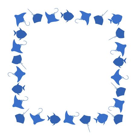 Fish square frame. Vector blue image background.