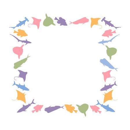 Fish square frame. Vector colourful image background. Vectores