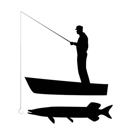 Old man is fishing pike on boat. Vector silhouette illustration. Vectores