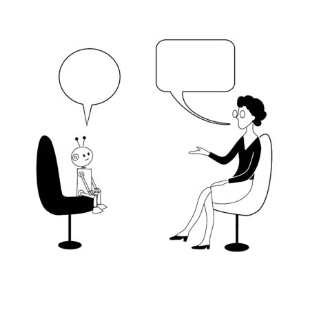 Robot and woman are talking. Vector black outline image. Vectores