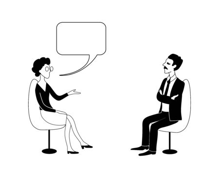 Woman and man are talking. Vector black outline image. Vectores
