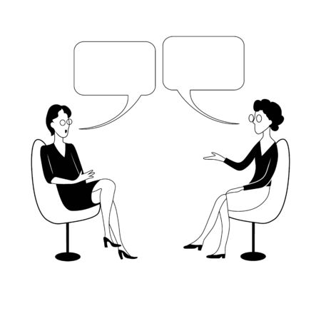 Two women sit on chairs and talk with bubbles. Black and white vector illustration.