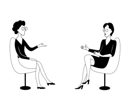 Two women sit on chairs and talk. Black and white vector illustration.