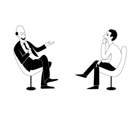 Two men are talking. Vector black outline image. Vectores